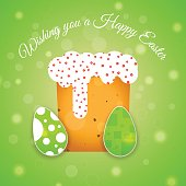Vector poster of Happy Easter on the gradient green background with Easter Cake, eggs with pattern, radiance and text cut from paper.