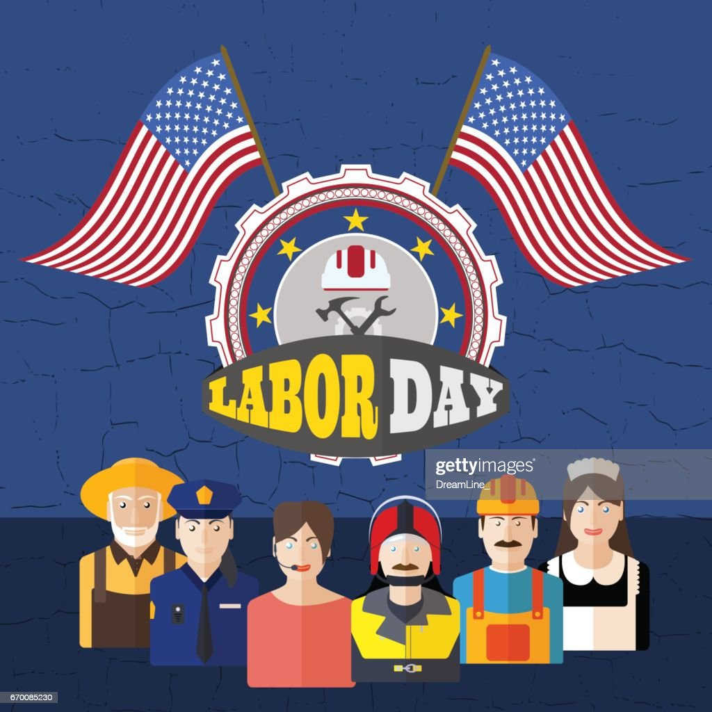 Vector poster of Happy Labor Day with group avatars of different professions, label, flags on the dark blue background with cracks.
