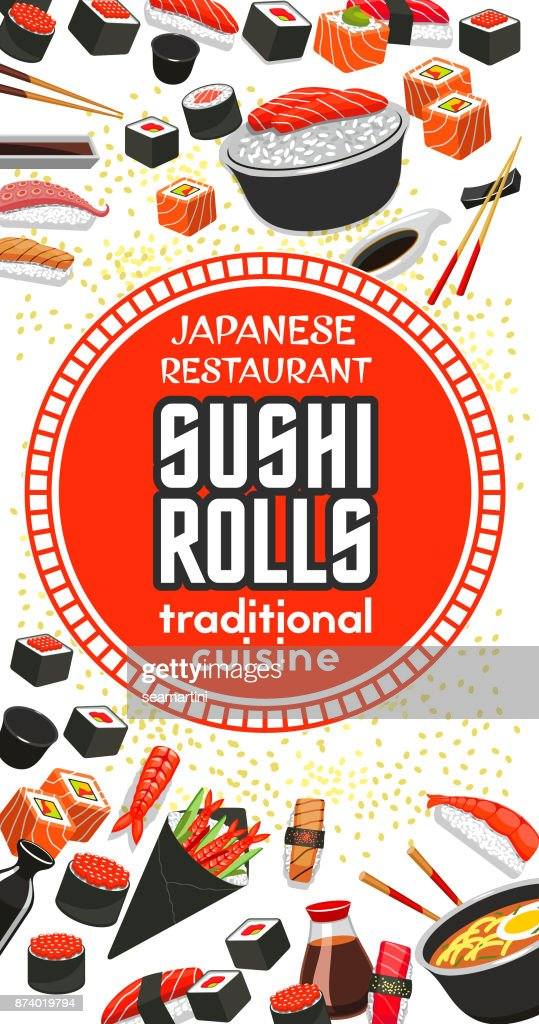 Vector poster of Japanese sushi cuisine restaurant