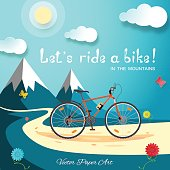 Vector poster of Let's ride a bike in the mountains on the gradient blue background with bicycle, road, sun, clouds, mountains, flowers and butterflies.
