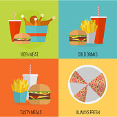 Vector poster of unhealthy fast food eating