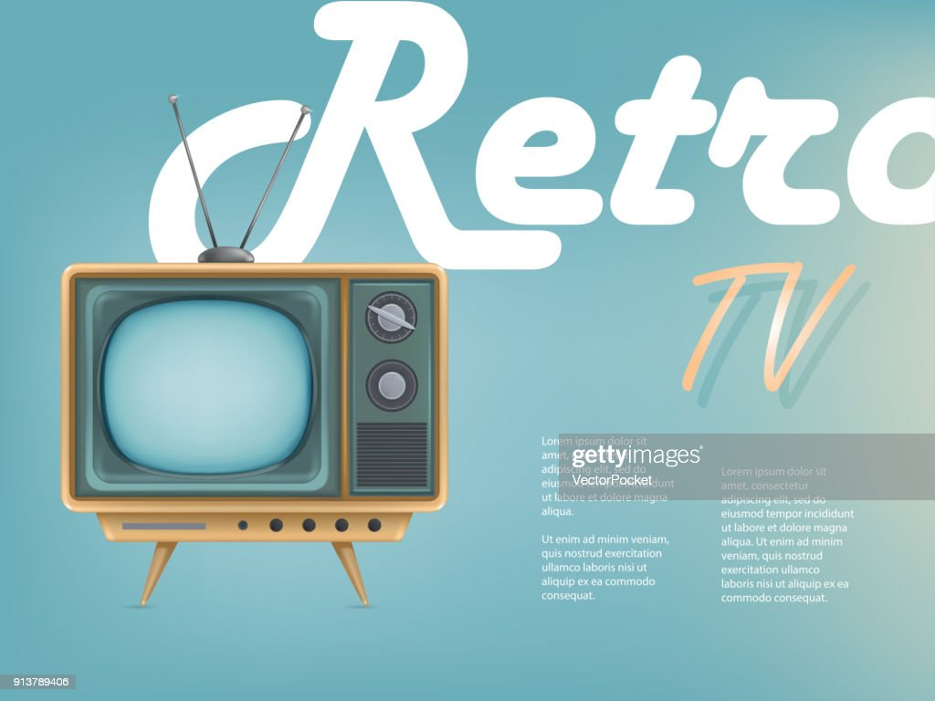 Vector poster of vintage tv set, television advertising. Promo banner for communication, web, entertainment, networking