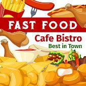 Vector poster or menu for fast food cafe bistro