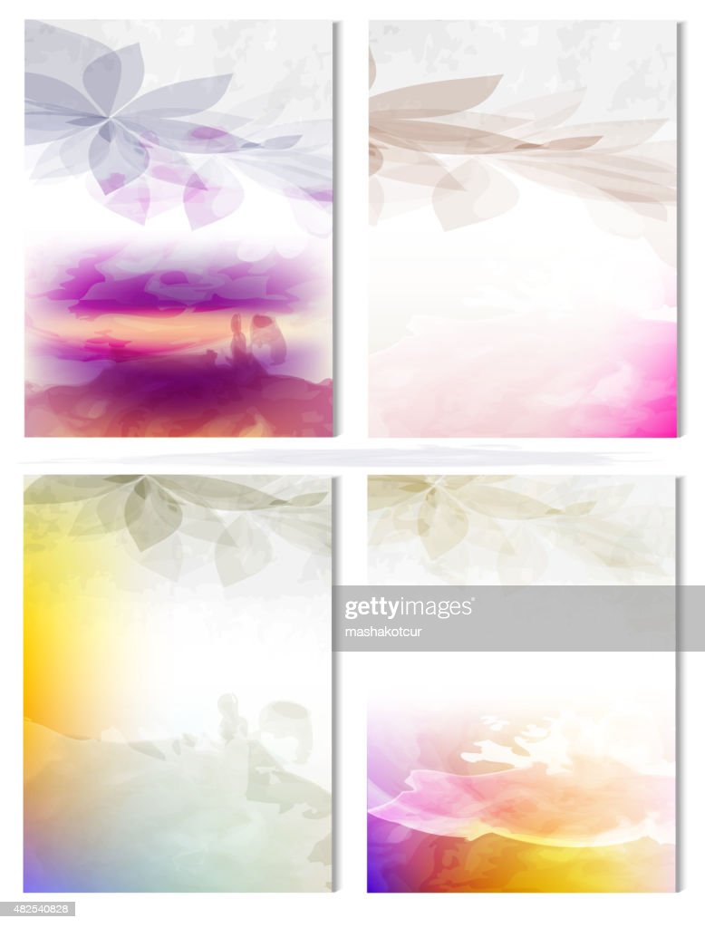 Vector Poster Templates with Watercolor Paint Splash