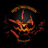 Vector poster to Happy Halloween holiday on the dark gray background with pattern of cracked paint.