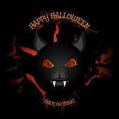 Vector poster to Happy Halloween holiday with vampire head on the dark gray background with pattern of cracked paint.