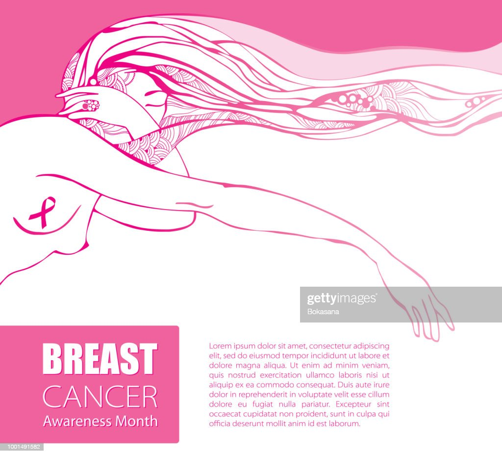 Vector poster with sad woman with pink ribbon and pink long hair isolated on white background. Breast Cancer Awareness Month symbol.