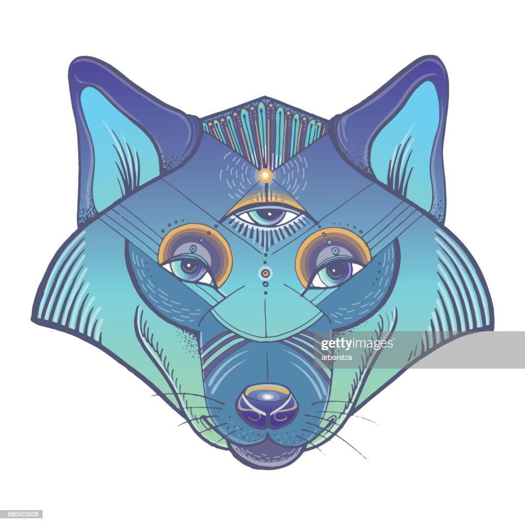 Vector poster with wolf's totem
