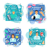Vector posters of healthcare medicine and doctors