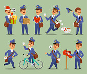 Vector postman cartoon man character courier occupation carrier. Cute mustache man uniform delivery mail letters package transportation postman. Mail business shipping man character message deliver