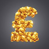 Vector pound sterling sign made of great amount of golden coins.