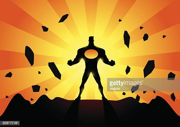 vector powerful superhero silhouette - animals charging stock illustrations, clip art, cartoons, & icons