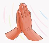 vector Praying Hands isolated on white