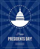 Vector Presidents Day greeting banner with Washington DC