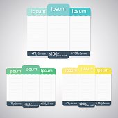 Vector pricing table, flat design style for websites and applications.