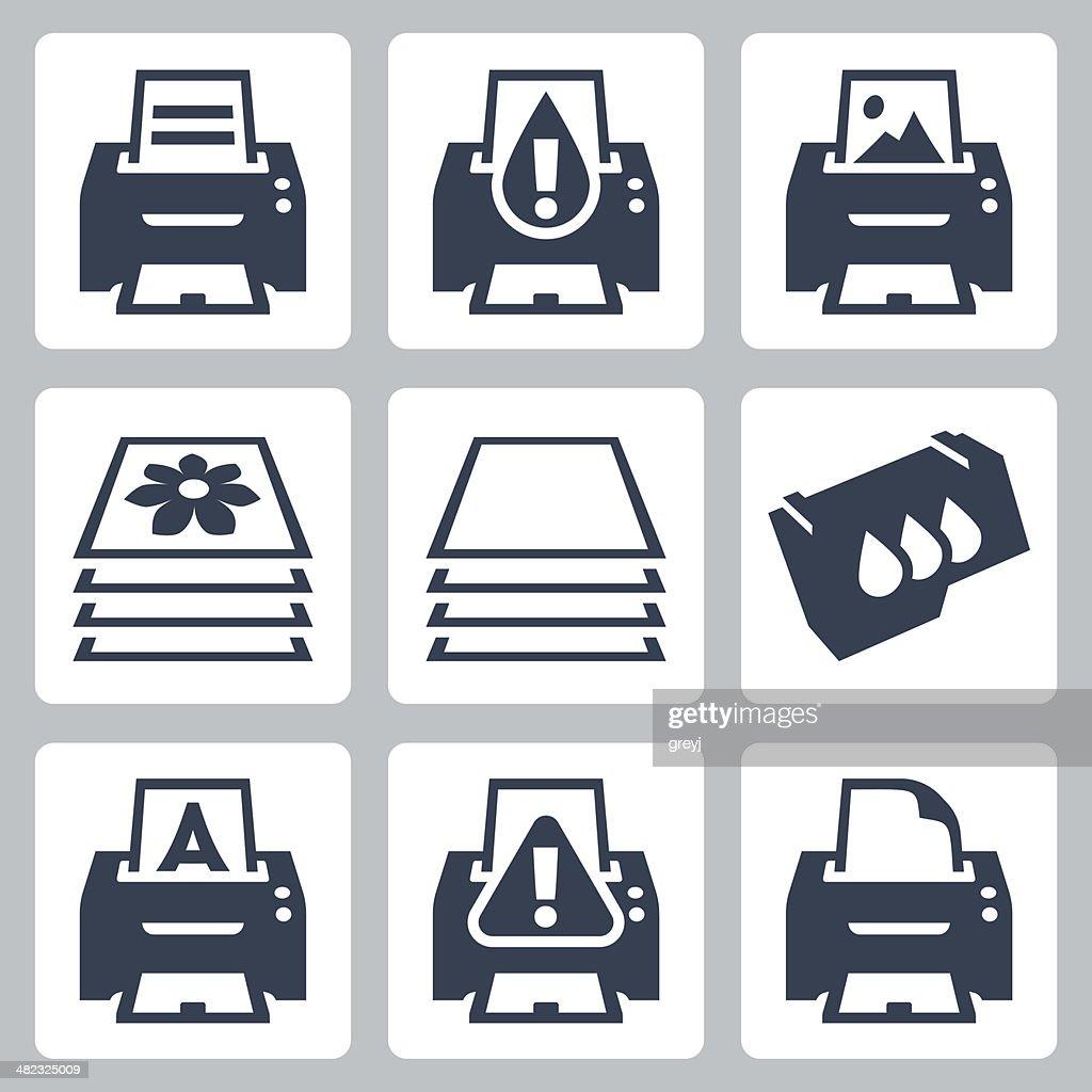 Vector print, printer icons set