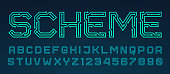 Vector printed circuit board style font.