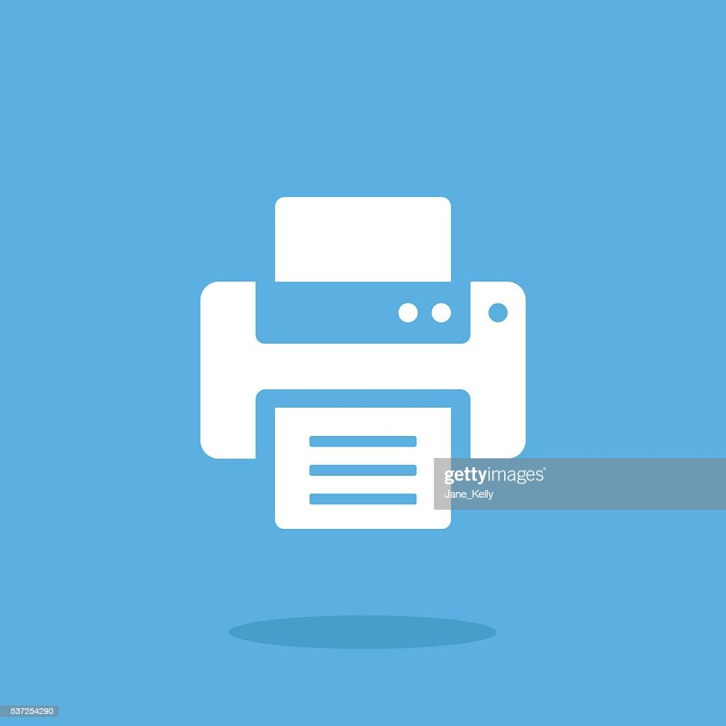 Vector printer icon. White printer icon