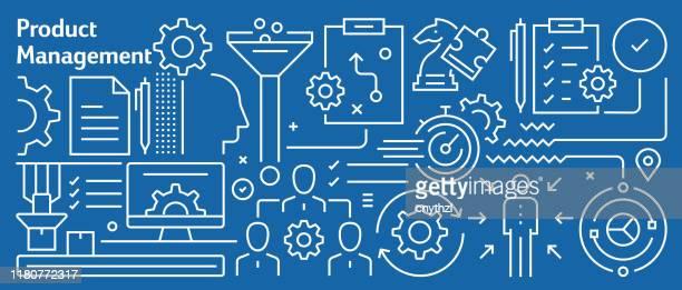 illustrations, cliparts, dessins animés et icônes de vector product management banner design dans un style linéaire tendance. modèle abstrait de style d'art de ligne pour la page web, la bannière, la présentation - directeur