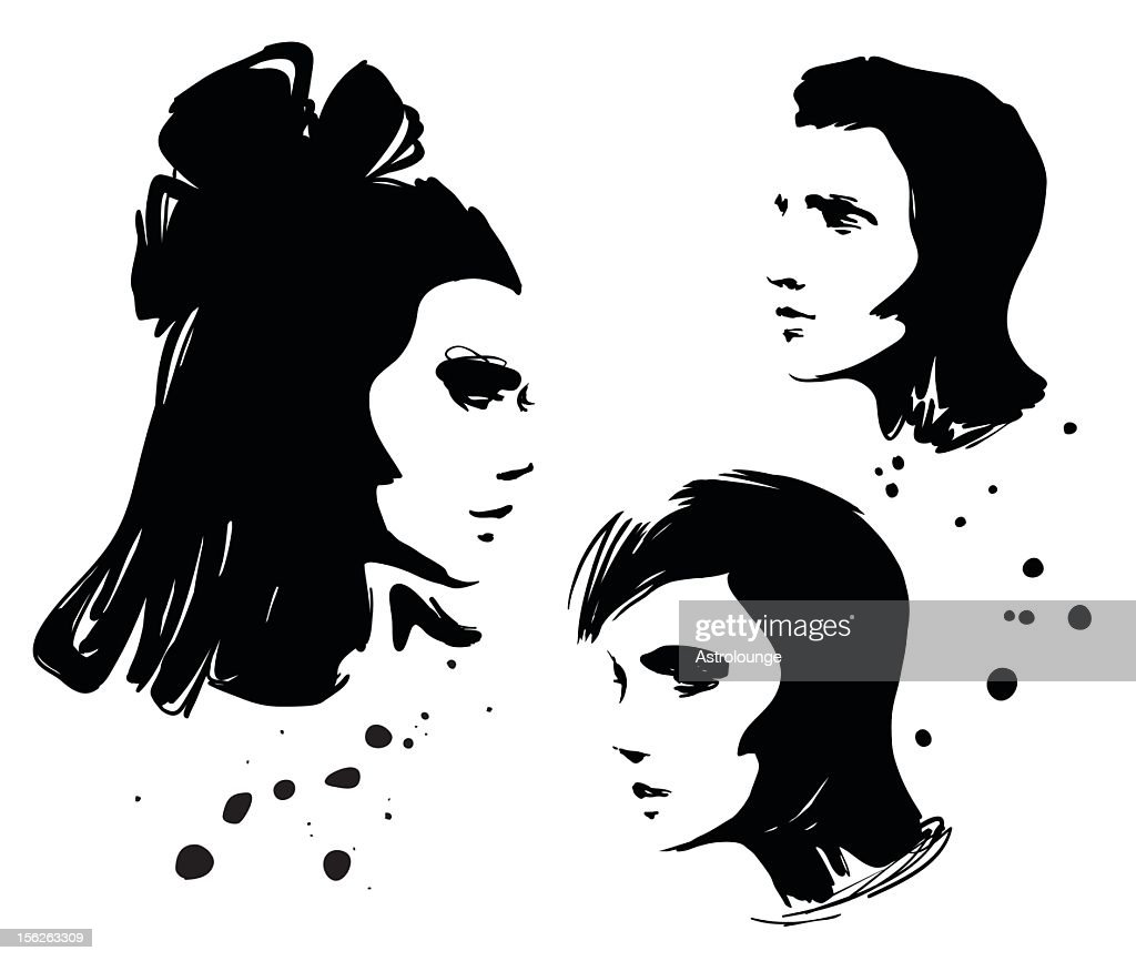 Vector profile faces on white background