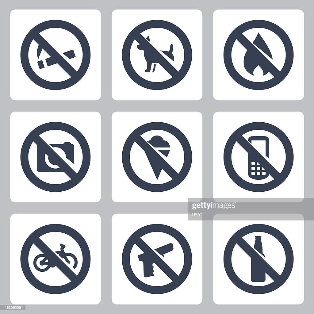 Vector 'prohibitory signs' icons set