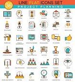 Vector Project planning flat line icon set. Modern elegant style