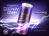 Vector promotion banner of powerful energy drink