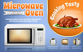 Vector promotion banner with white microwave oven