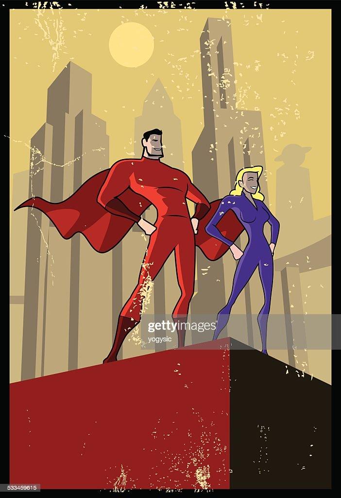 Vector Propaganda Style Superhero Poster
