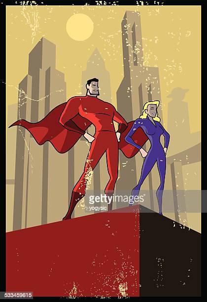 Vektor-Propaganda-Plakat Superhelden