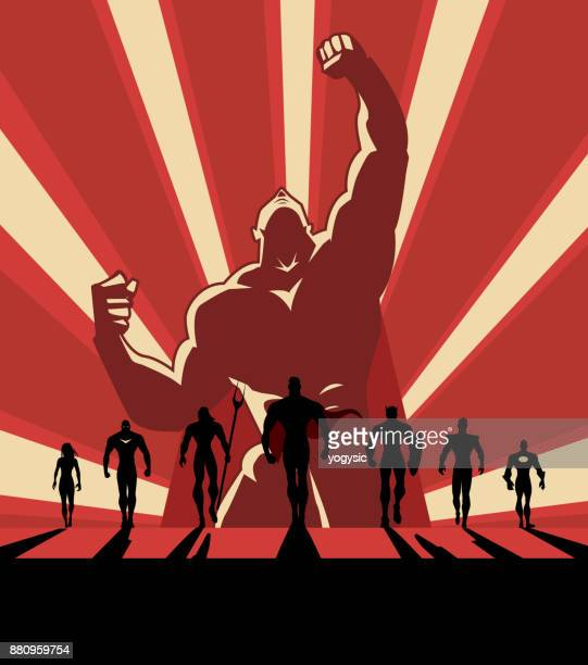 vector propaganda style superhero team illustration - propaganda stock illustrations