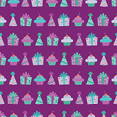 Vector Purple Birthday Items Seamless Pattern Background