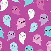 Vector Purple Blue Ghosts Seamless Pattern Background