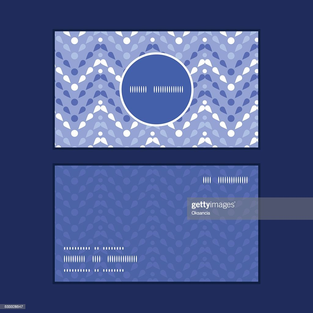 Vector purple drops chevron vertical round frame pattern business cards