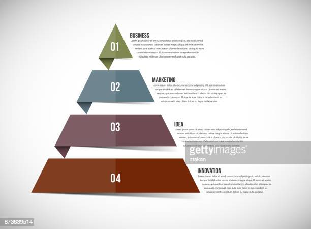 vector pyramid chart templates for infographics with 4 options - pyramid stock illustrations