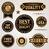 Vector Quality Assurance Labels and Badges Set