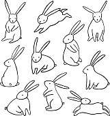 Vector rabbit icons set. Simple cartoon bunny isolated