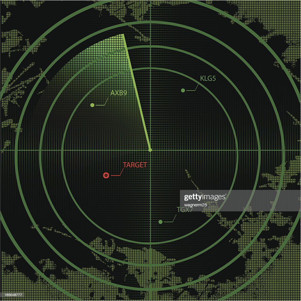 Vector radar screen with map and targets