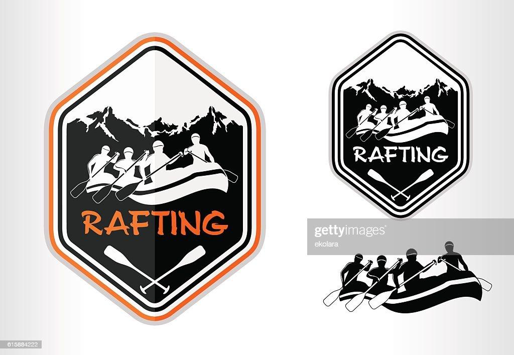 vector rafting emblem logo label