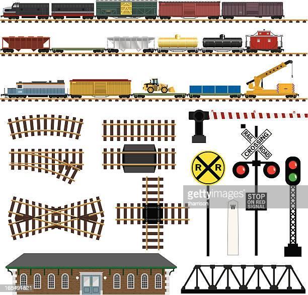 ベクトル鉄道駅のコンポーネント - 貨物列車点のイラスト素材/クリップアート素材/マンガ素材/アイコン素材
