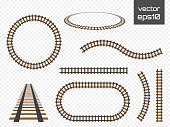 Vector rails set. Railways on white background. Railroad tracks