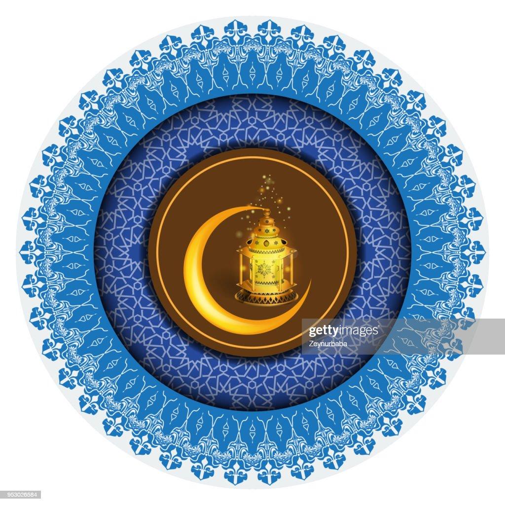 Vector Ramadan greeting ornament pattern background with circle floral border and Ramadan Kareem calligraphy.