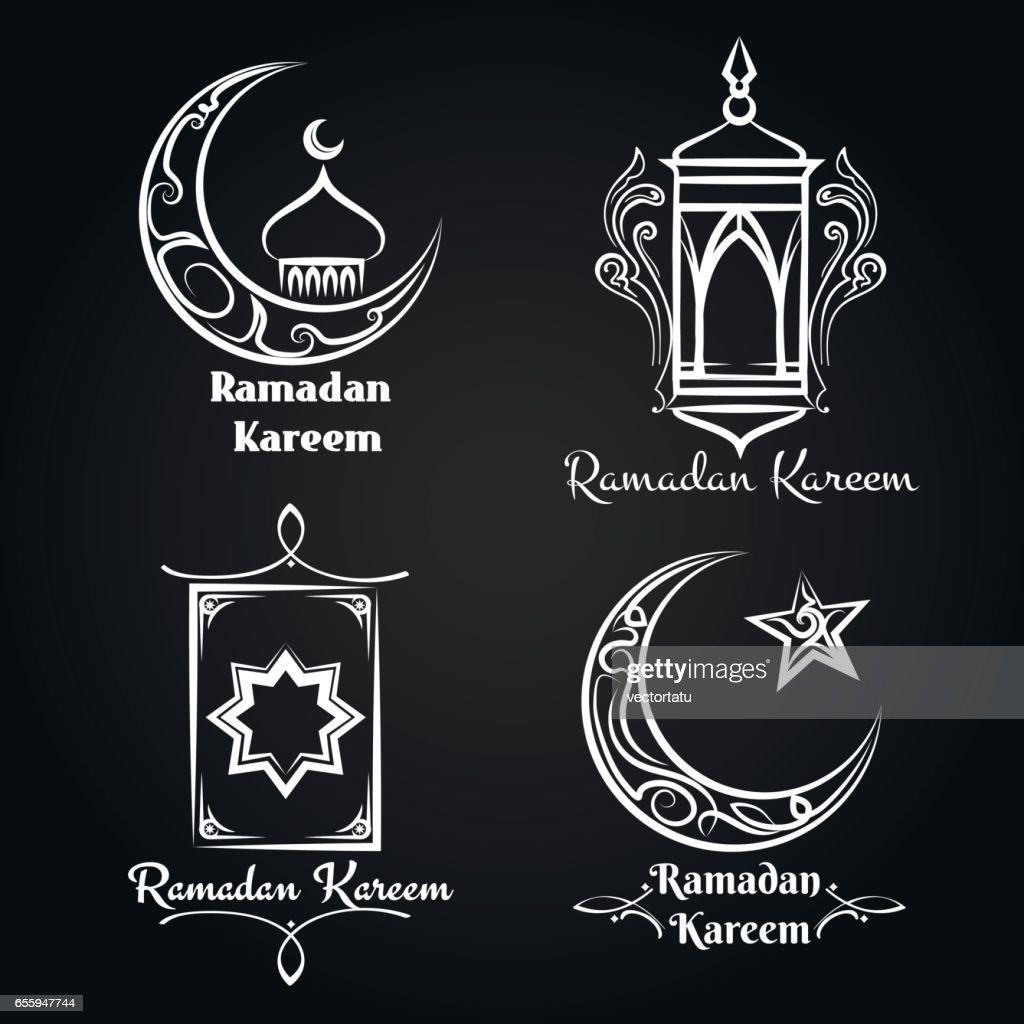 Vector ramadan kareem emblem set
