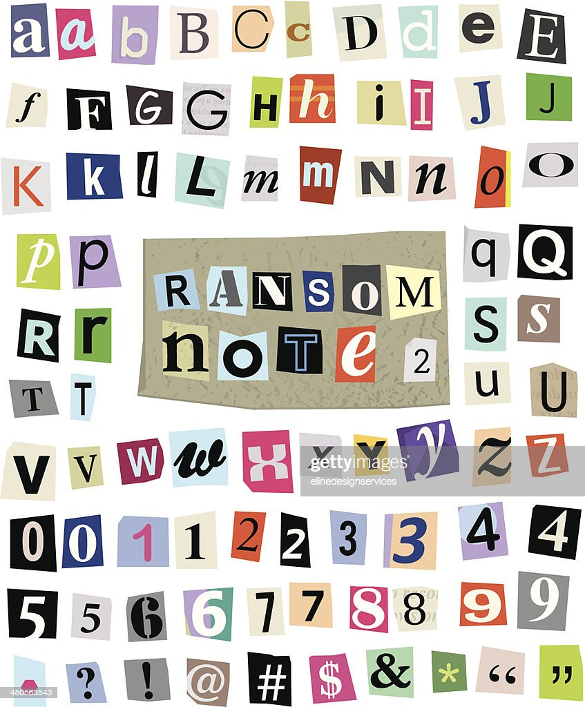 Vector Ransom Note #2- Cut Paper Letters, Numbers, Symbols
