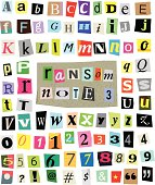 Vector Ransom Note #3- Cut Paper Letters, Numbers, Symbols