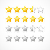 Vector Rating stars isolated on white.