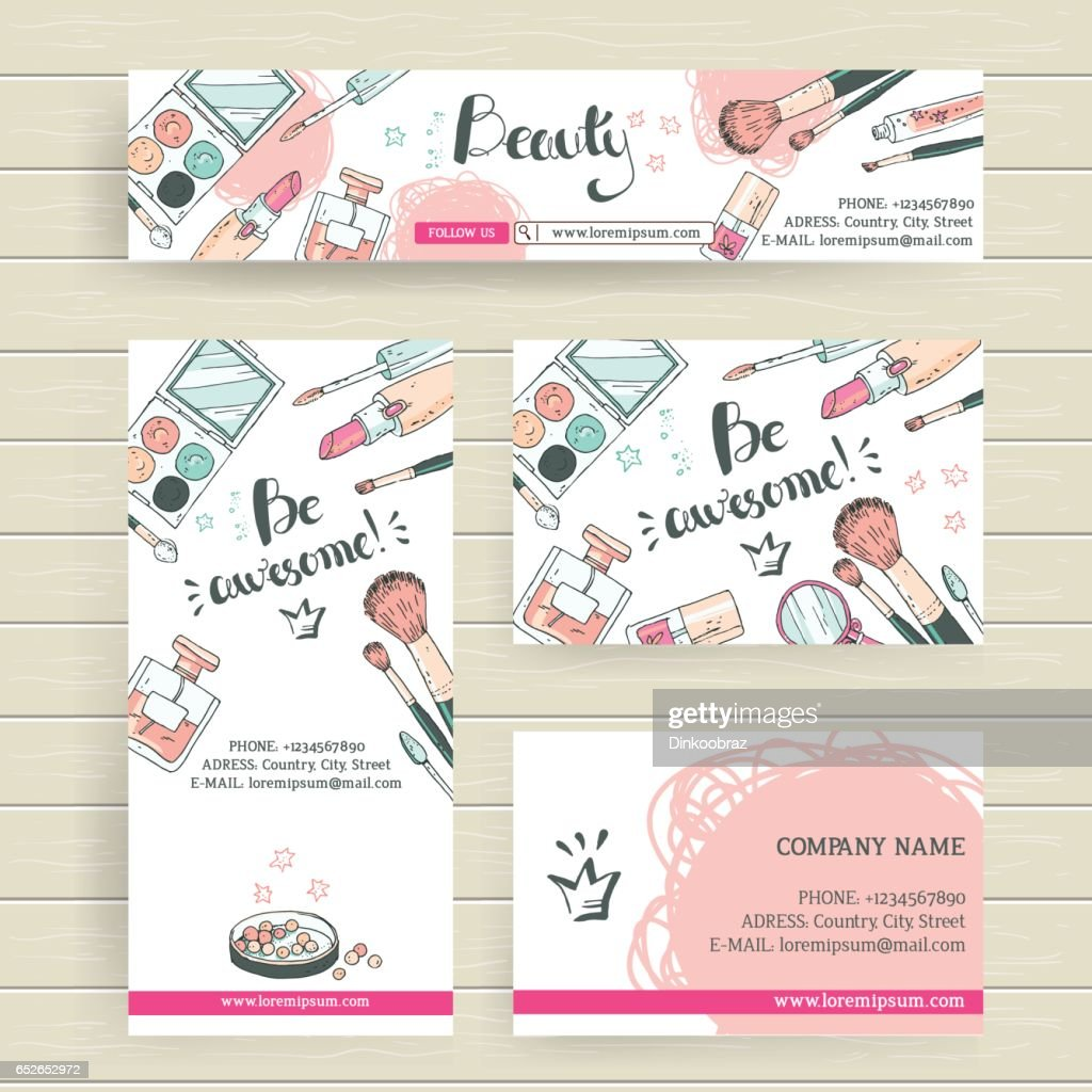 Vector ready design template for makeup artist, makeup studio or