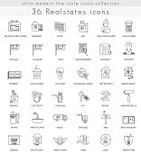 Vector Real estates house ultra modern outline line icons for