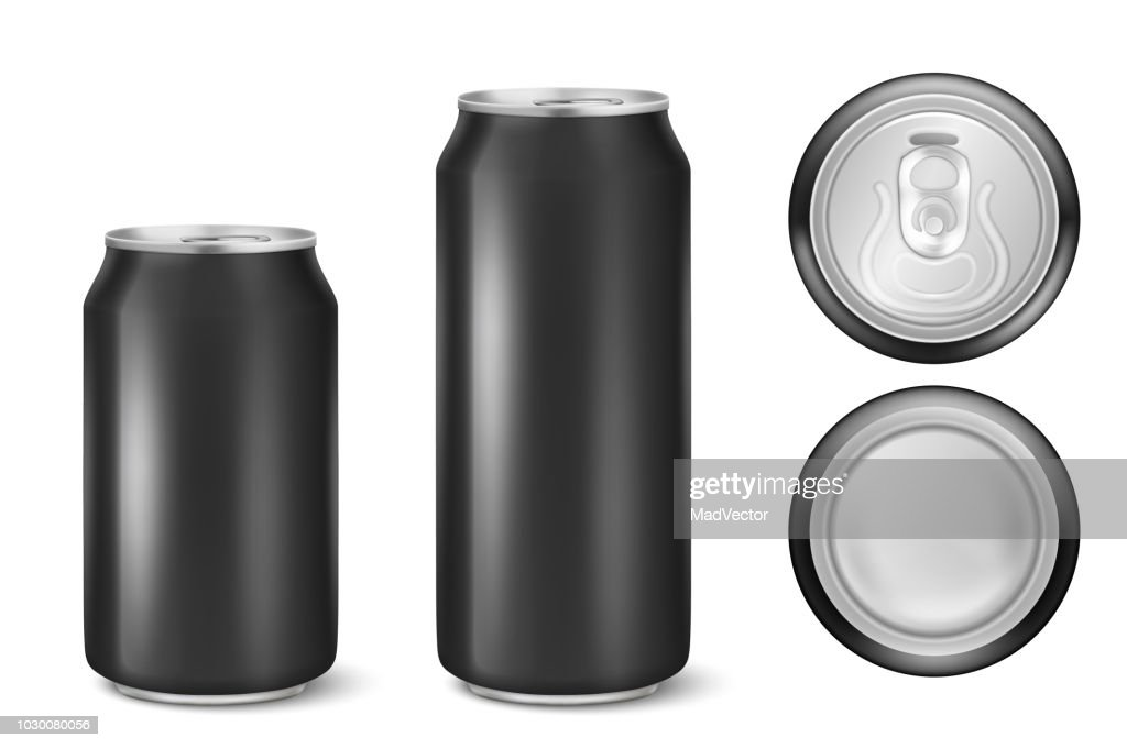 Vector realistic 3d black empty glossy metal black aluminium beer pack or can visual 330ml 500ml. Can be used for lager, alcohol, soft drink, soda, fizzy pop, lemonade, cola, energy drink, juice, water etc. Icon set closeup isolated onwhite background