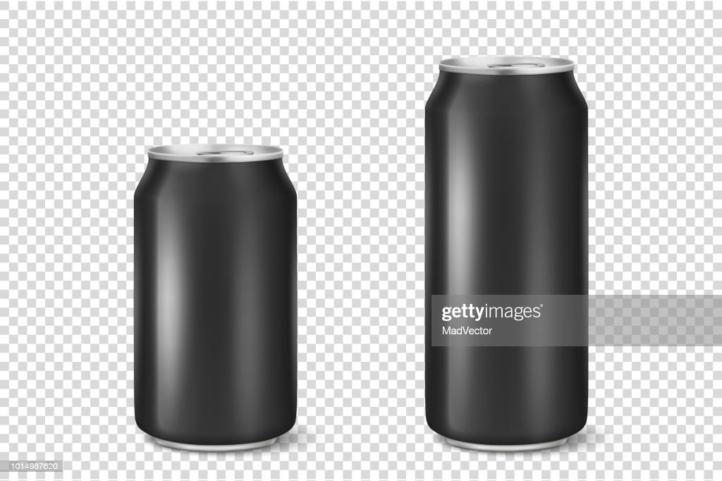 Vector realistic 3d empty glossy metal black aluminium beer pack or can visual 330ml 500ml. Can be used for lager, alcohol, soft drink, soda, fizzy pop, lemonade, cola, energy drink, juice, water etc. Icon set closeup isolated on transparency grid